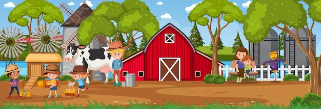 Scène de paysage horizontal de ferme avec le personnage de dessin animé d'enfants d'agriculteur