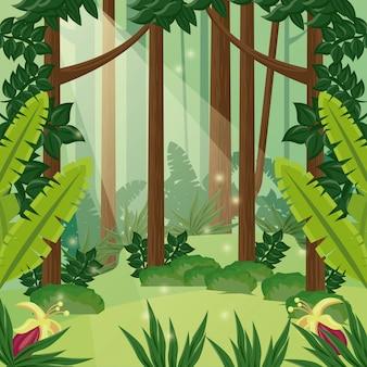 Scène de paysage de jour de forêt avec des fleurs vector illustration design