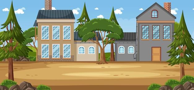 Scène de paysage avec des maisons au printemps