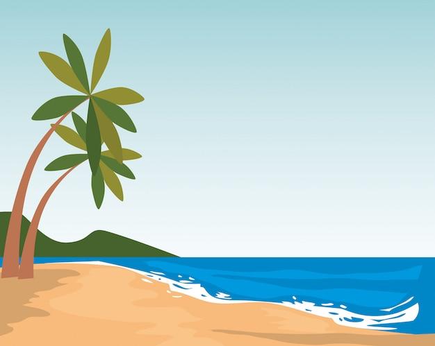 Scène de paysage marin de plage
