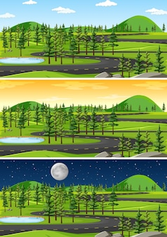 Scène de paysage naturel à différents moments de la journée