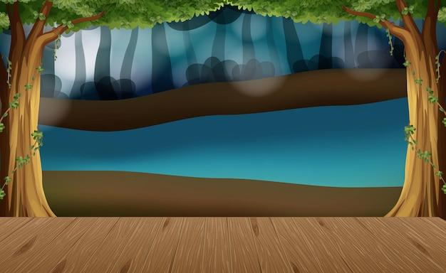 Scène de paysage naturel vide avec arrière-plan flou