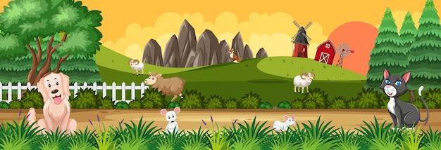 Scène de paysage panoramique avec divers animaux de la ferme à la ferme