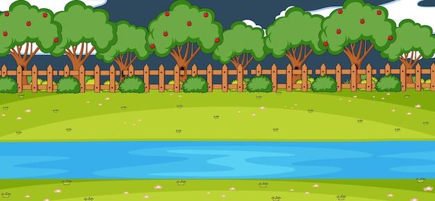 Scène de paysage de parc vide la nuit avec de nombreux arbres et rivière