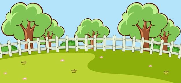 Scène de paysage de parc vide pendant la journée