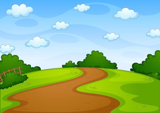 Scène de paysage de parc vide