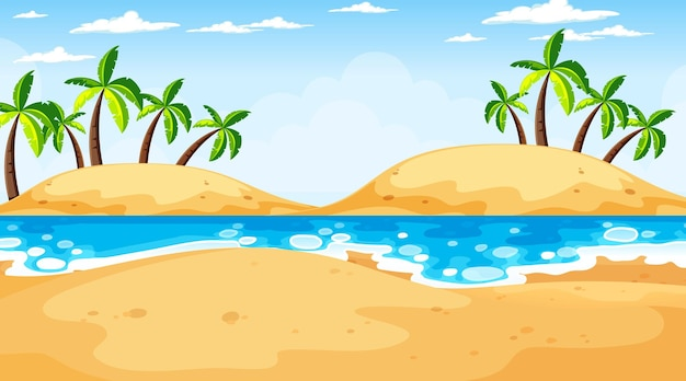 Scène de paysage de plage tropicale au moment de la journée