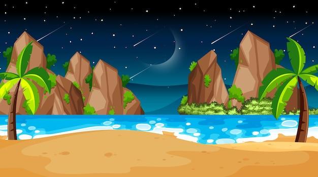 Scène de paysage de plage tropicale la nuit