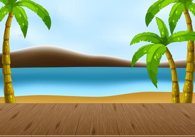 Scène de paysage de plage vide avec fond de ciel flou