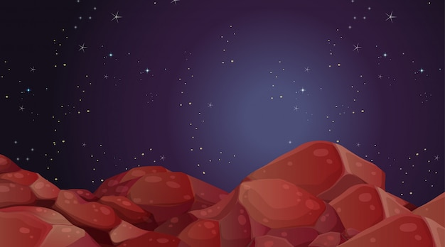Scène de paysage de la planète spatiale
