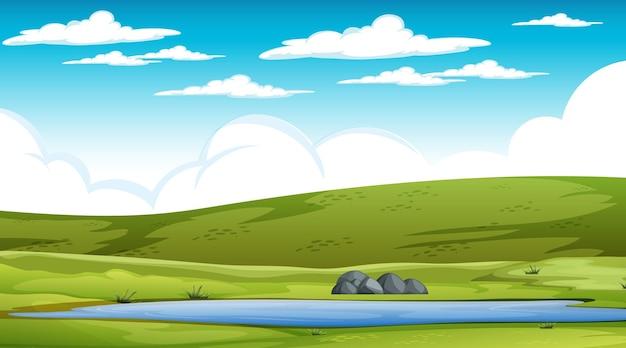 Scène de paysage de prairie vierge pendant la journée