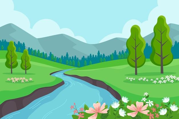 Scène de paysage de printemps