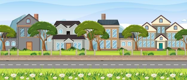 Scène de paysage avec rue et maisons