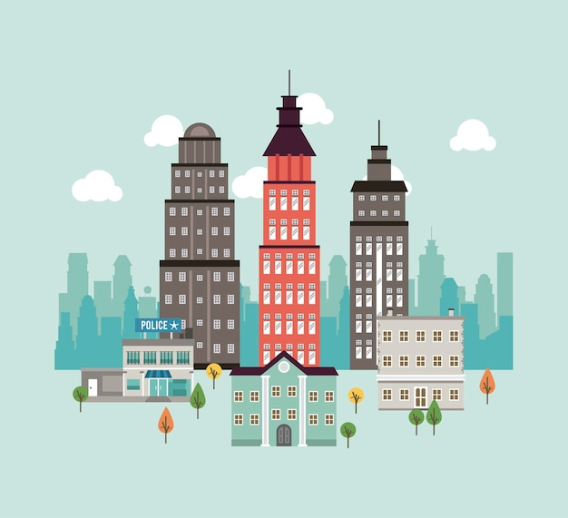Scène de paysage urbain de mégalopole de la vie de la ville avec des gratte-ciel et illustration du poste de police