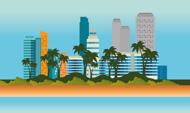 Scène de paysage urbain de miami beach