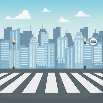 Scène de paysage urbain avec route de passage pour piétons