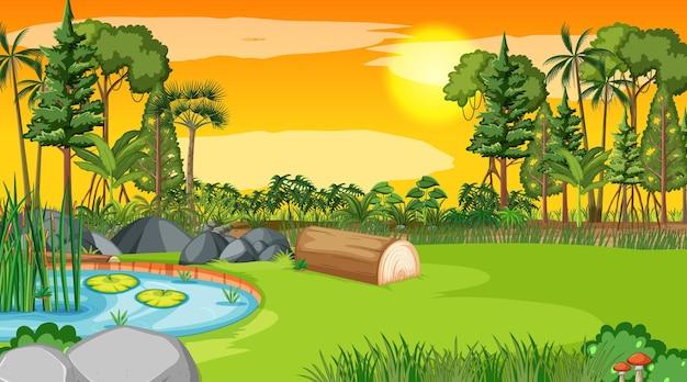 Scène de paysage vierge du parc naturel au coucher du soleil