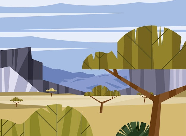 Scène de paysage wanderlust avec des arbres