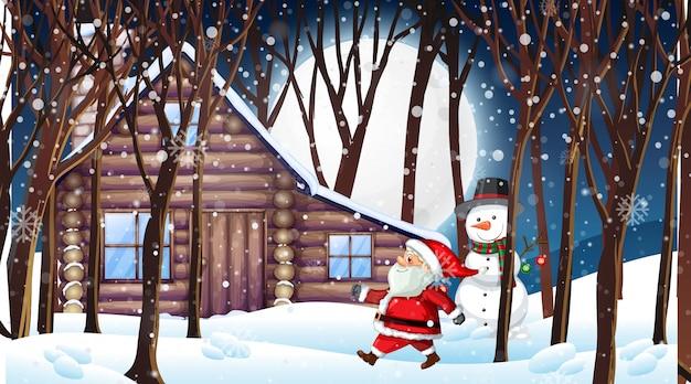 Scène avec le père noël et bonhomme de neige dans la nuit enneigée