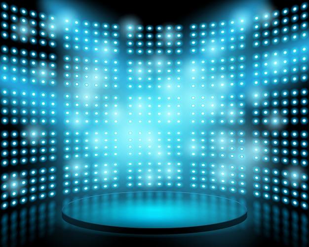 Scène de performance avec mur de fond lumineux ampoule. fond abstrait