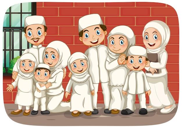 Scène avec personnage de dessin animé de famille musulmane