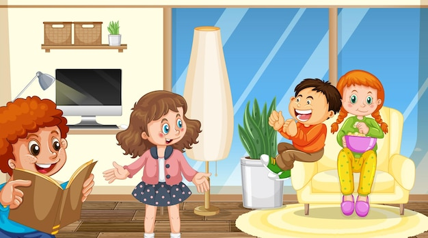 Scène avec personnage de dessin animé pour enfants dans la chambre