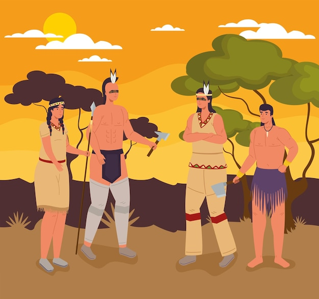 Scène de personnages aborigènes