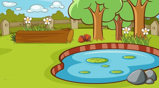 Scène avec petit étang dans le parc
