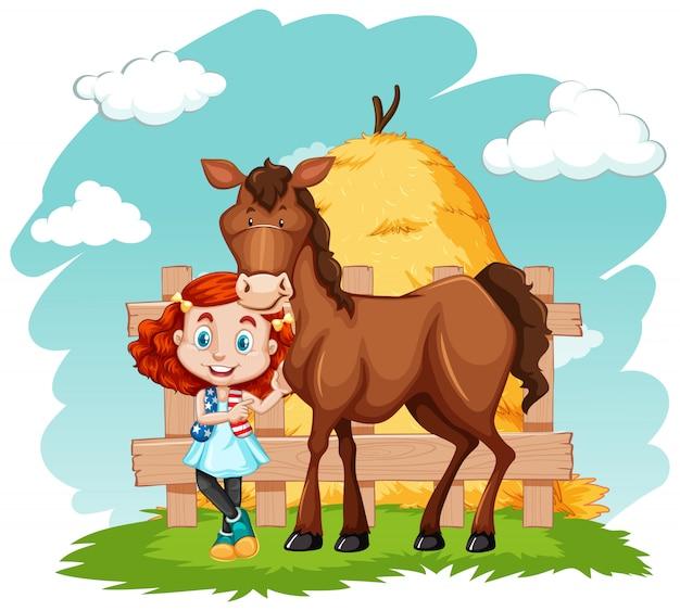 Scène avec petite fille et cheval brun