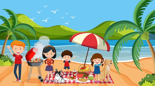 Scène de pique-nique avec une famille heureuse à la plage