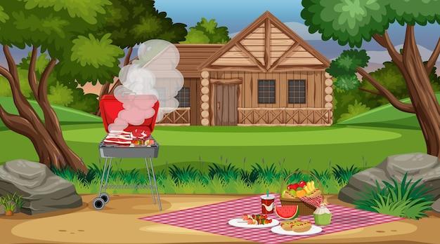 Scène de pique-nique avec de la nourriture sur la table et un barbecue dans le jardin