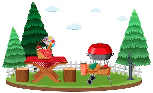 Scène de pique-nique avec de la nourriture sur la table