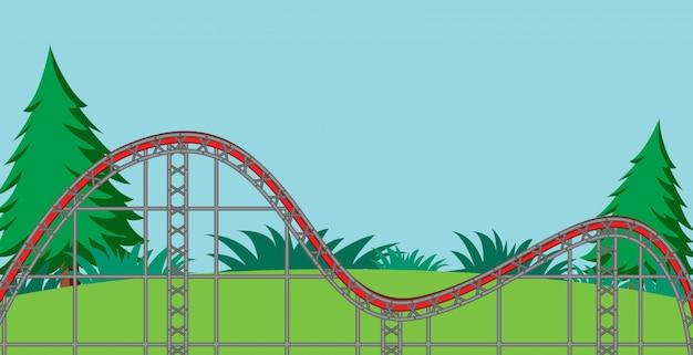 Scène avec piste de montagnes russes vide dans l'illustration du parc
