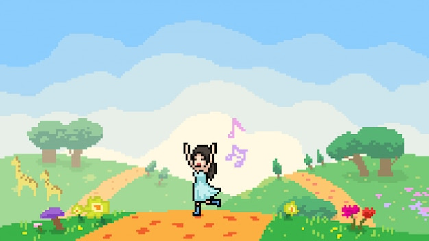 Scène de pixel art fille heureuse