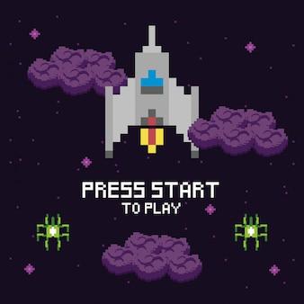 Scène pixélisée de l'espace de jeu vidéo et message d'étoile de presse