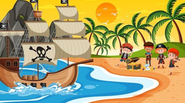 Scène de plage au coucher du soleil avec des enfants pirates