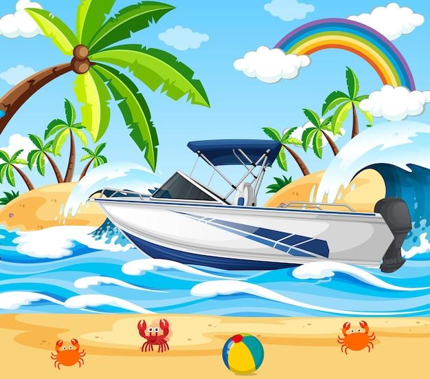 Scène de plage avec un bateau rapide