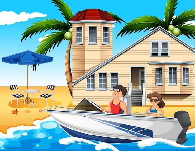 Scène de plage avec un couple conduisant un hors-bord