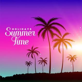 Scène de plage l'heure d'été avec des palmiers