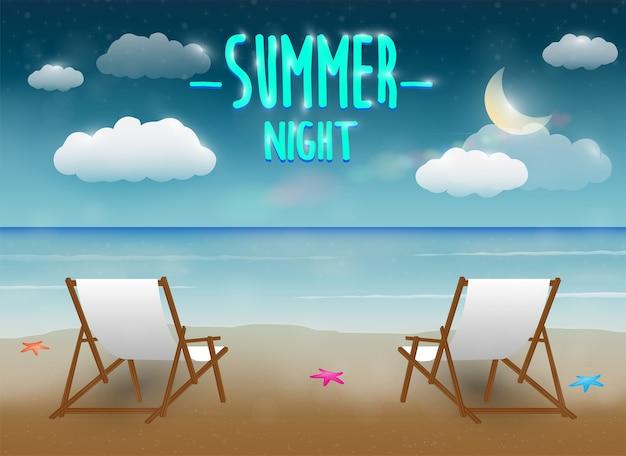 Scène de plage de la mer de nuit