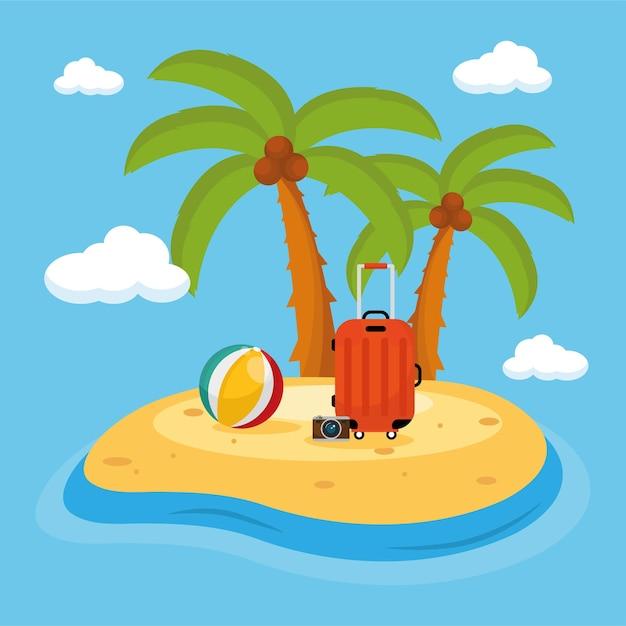 Scène de plage avec palmiers et voyage