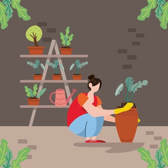 Scène de plantation de femme