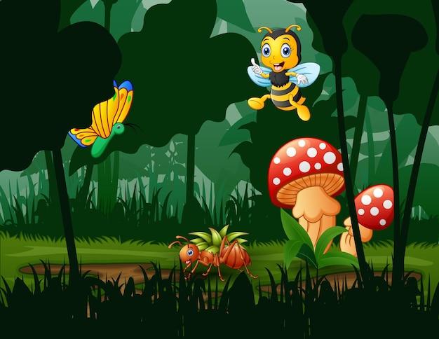 Scène avec des plantes et des insectes dans l & # 39; illustration du jardin