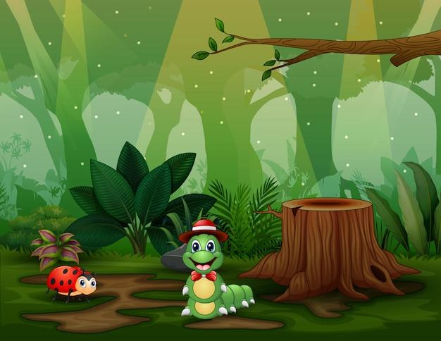 Scène avec des plantes et des insectes dans l'illustration du jardin
