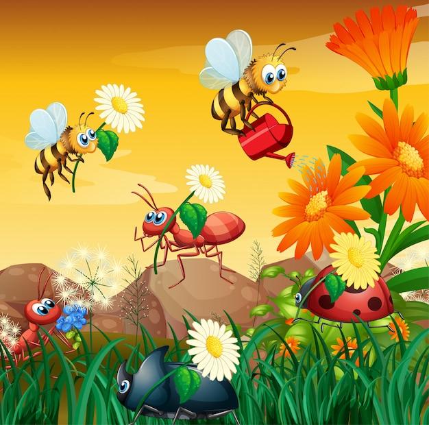 Scène avec des plantes et des insectes dans le jardin