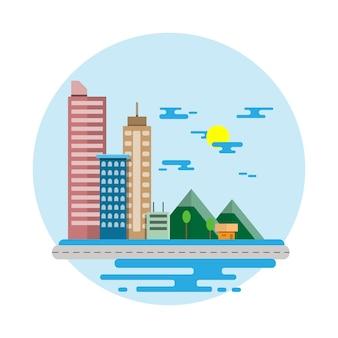 Scène plate design cityscape