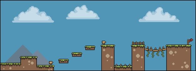 Scène de plate-forme de jeu de bit de pixel art avec drapeau de conseil de clôture de pont d'herbe de nuages