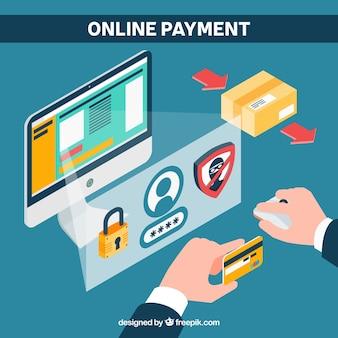 Scène plate d'un paiement électronique