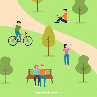 Scène plate de personnes faisant des activités dans le parc