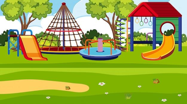 Une scène en plein air avec aire de jeux